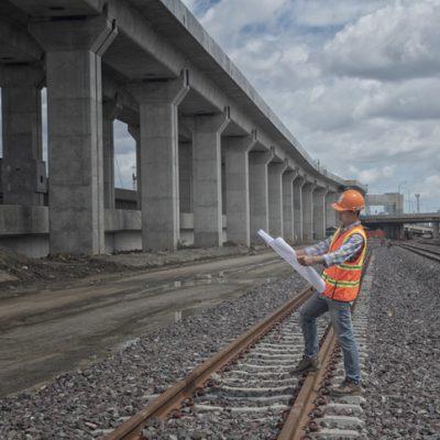 worker on site railways construction